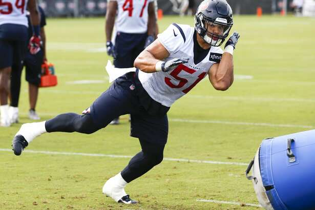 Houston Texans linebacker Dylan Cole (51) runs a drill during training camp at the Methodist Training Center on Saturday, Aug. 11, 2018, in Houston.