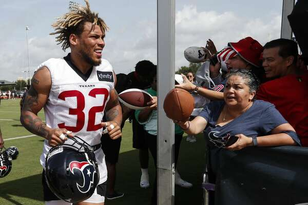 Houston Texans defensive back Tyrann Mathieu (32) jogs off the field following practice during training camp at the Methodist Training Center on Saturday, Aug. 11, 2018, in Houston.