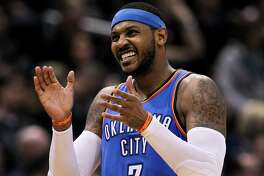MILWAUKEE, WI - OCTOBER 31: Carmelo Anthony #7 of the Oklahoma City Thunder reacts in the fourth quarter against the Milwaukee Bucks at the Bradley Center on October 31, 2017 in Milwaukee, Wisconsin. NOTE TO USER: User expressly acknowledges and agrees that, by downloading and or using this photograph, User is consenting to the terms and conditions of the Getty Images License Agreement. (Photo by Dylan Buell/Getty Images)