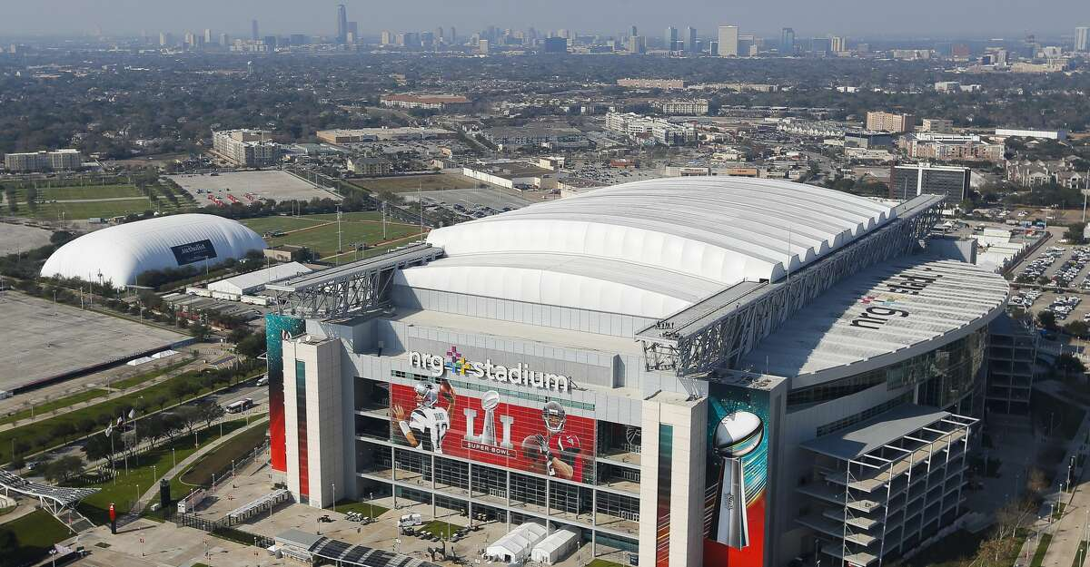 PHOTOS: See the other venues around Houston that will be lit blue on Thursday night An aerial view of NRG Stadium from a Customs and Border Protection UH-60 Black Hawk helicopter before Super Bowl LI Thursday, Feb. 2, 2017 in Houston. ( Michael Ciaglo / Houston Chronicle )