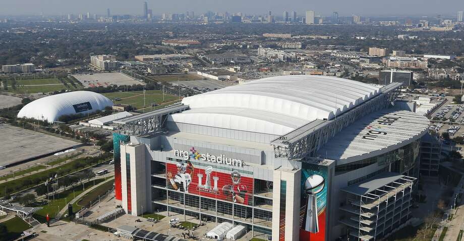 PHOTOS: See the other venues around Houston that will be lit blue on Thursday night An aerial view of NRG Stadium from a Customs and Border Protection UH-60 Black Hawk helicopter before Super Bowl LI Thursday, Feb. 2, 2017 in Houston. ( Michael Ciaglo / Houston Chronicle ) Photo: Michael Ciaglo/Houston Chronicle