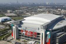 An aerial view of NRG Stadium from a Customs and Border Protection UH-60 Black Hawk helicopter before Super Bowl LI Thursday, Feb. 2, 2017 in Houston. ( Michael Ciaglo / Houston Chronicle )