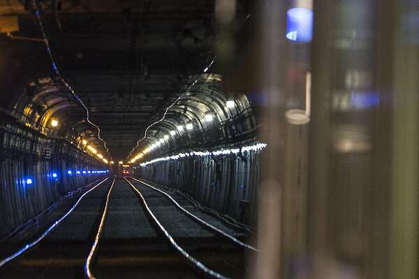 A train waits to enter the Twin Peaks Tunnel at Forest Hill Station in San Francisco, Calif. Friday, June 22, 2018. The Twin Peaks Tunnel is scheduled to close for two months for repairs starting Monday, June 25th.