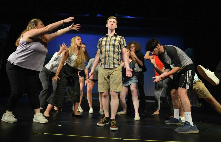 A scene during rehearsal on Thursday August 9, 2018 in Norwalk Conn. starring Zachary Anderson, a 2018 Norwalk High School graduate who is staging and starring in his second original musical 'Escape' at The Crystal Theater. Photo: Alex Von Kleydorff / Hearst Connecticut Media / Norwalk Hour