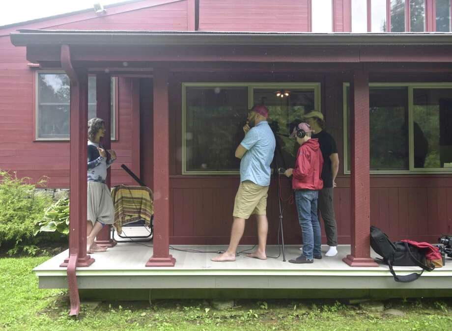 Dillon Paul, left,  is interviewed by Ben Willis, Maxfield Branson and Cole Branson. Students from a film studies program at Marvelwood School, in Kent, are making a short film for the National Park Service. Saturday, August 11, 2018, in Kent, Conn. Willis created the video exploration program. Photo: H John Voorhees III / Hearst Connecticut Media / The News-Times