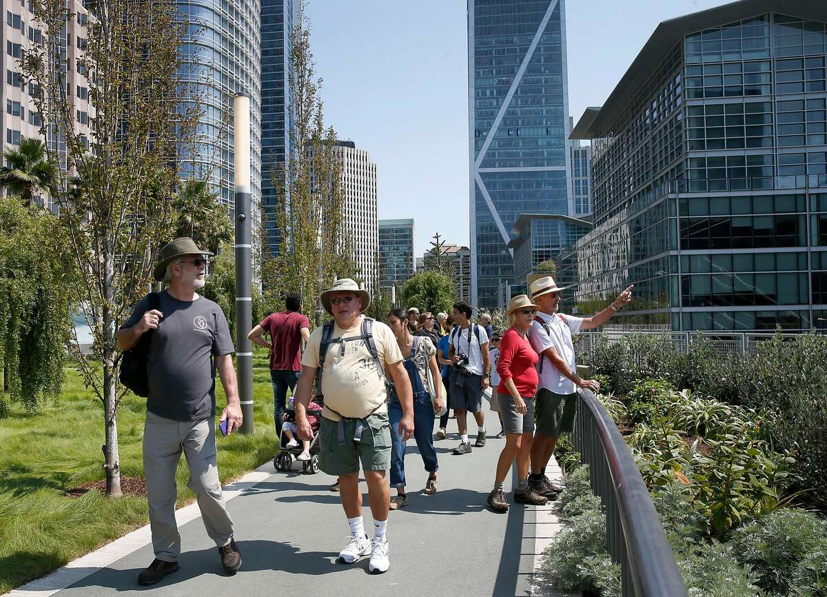 Members of the public get a firsthand look at the rooftop park during the grand opening of the Salesforce Transit Center in San Francisco, Calif. on Saturday, Aug. 11, 2018. Buses begin rolling through the terminal Sunday.