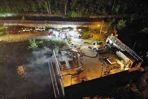 Fire units from Shelton's Echo Hose Hook & Ladder Co. 1 were dispatched tot he Hydro Power Plant at 305 Canal Street in Shelton, Conn., on Thursday, Aug. 9, 2018.