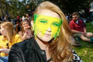 Erin Schwartz wears slime glasses at Outside Lands Music Festival on Saturday, August 11, 2018 in San Francisco, Calif.