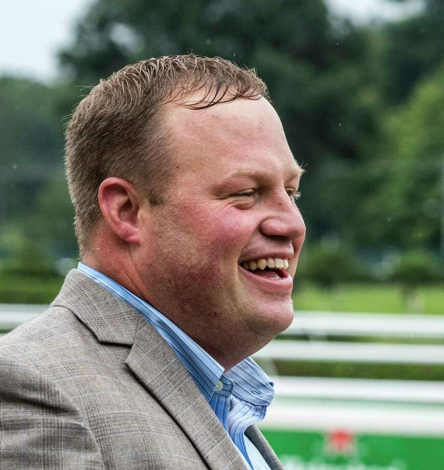 Trainer Jeremiah Englehart is all smiles after his charge Sue's Fortune with jockey Junior Alvarado won the 102nd running of the Adirondack at the Saratoga Race Course Saturday Aug. 11, 2018 in Saratoga Springs, N.Y.(Skip Dickstein/Times Union) Photo: SKIP DICKSTEIN, Albany Times Union