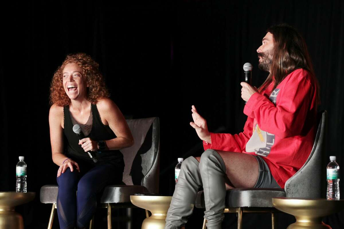 SAN FRANCISCO, CA - AUGUST 11: Michelle Wolf (L) and Jonathan Van Ness perform on The Barbary Stage during the 2018 Outside Lands Music And Arts Festival at Golden Gate Park on August 11, 2018 in San Francisco, California. (Photo by FilmMagic/FilmMagic)