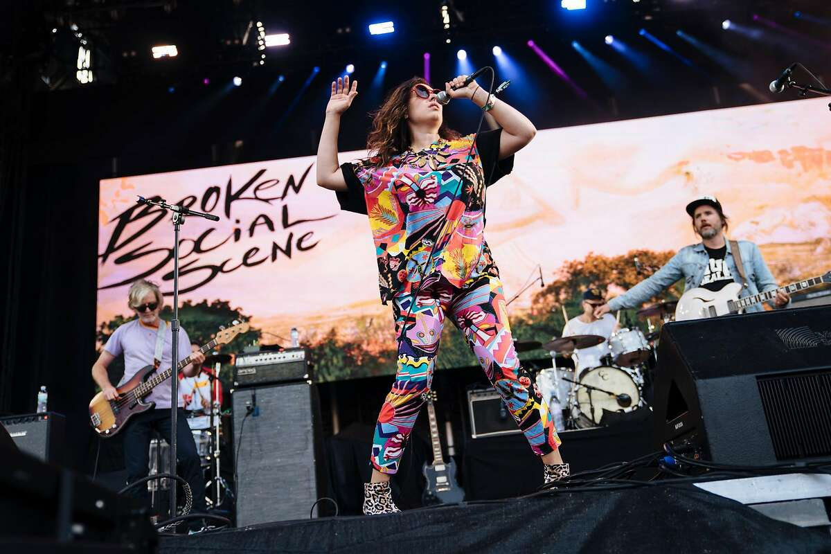 Ariel Engle of Broken Social Scene dances at Lands End Stage during Outside Lands Music and Arts Festival at Golden Gate Park in San Francisco, Calif., on Saturday, Aug. 11, 2018.