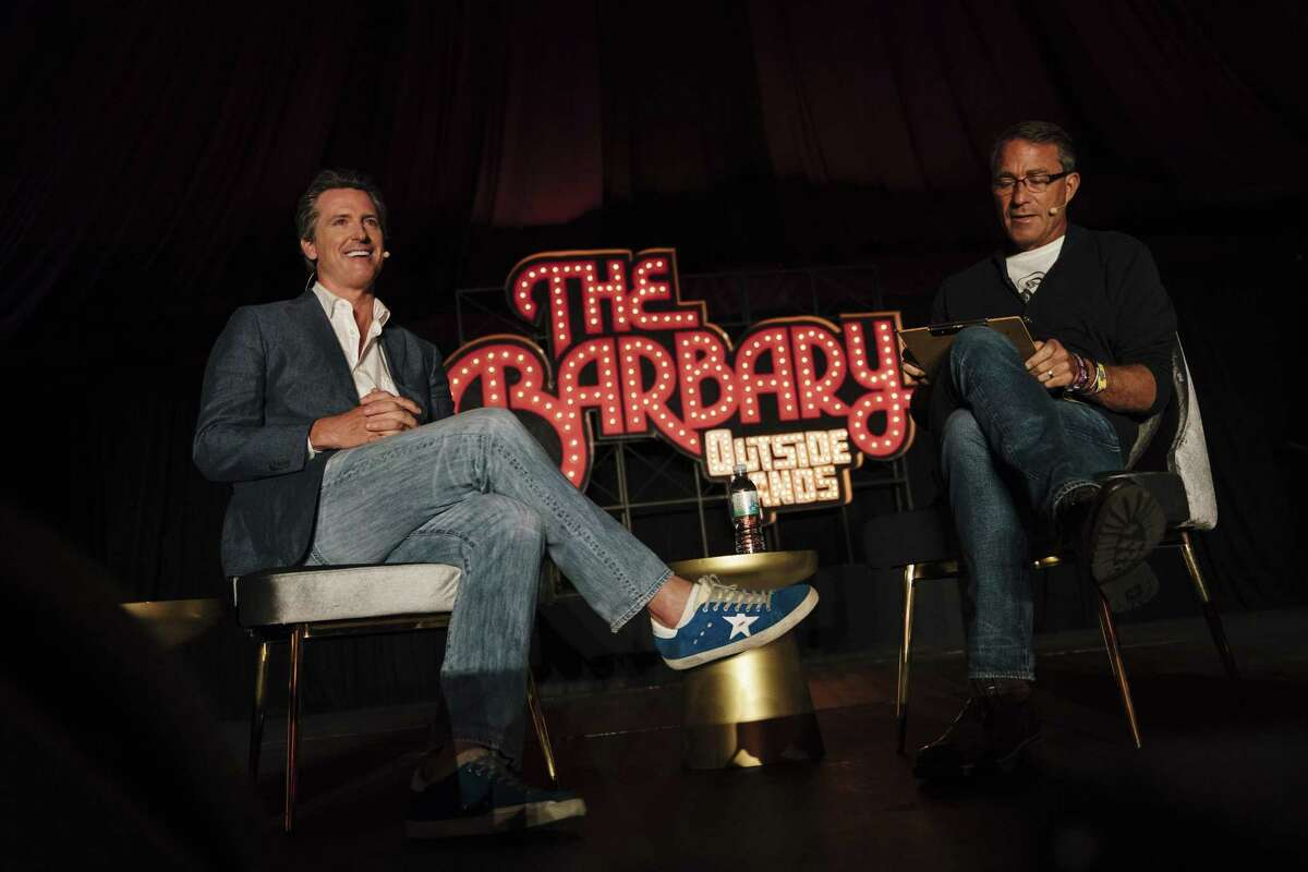 Lt. Governor Gavin Newsom speaks with John Battelle at The Barbary Stage during the 2018 Outside Lands Music and Arts Festival at Golden Gate Park in San Francisco, Calif., on Saturday, Aug. 11, 2018.