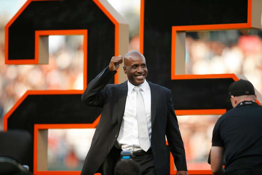 Barry Bonds during his uniform number retirement ceremony at AT&T Park on Saturday, Aug. 11, 2018, in San Francisco, Calif. The San Francisco Giants retired number 25 in honor of Bonds' historic career with the Giants from 1993-2007. Photo: Santiago Mejia / The Chronicle 2018