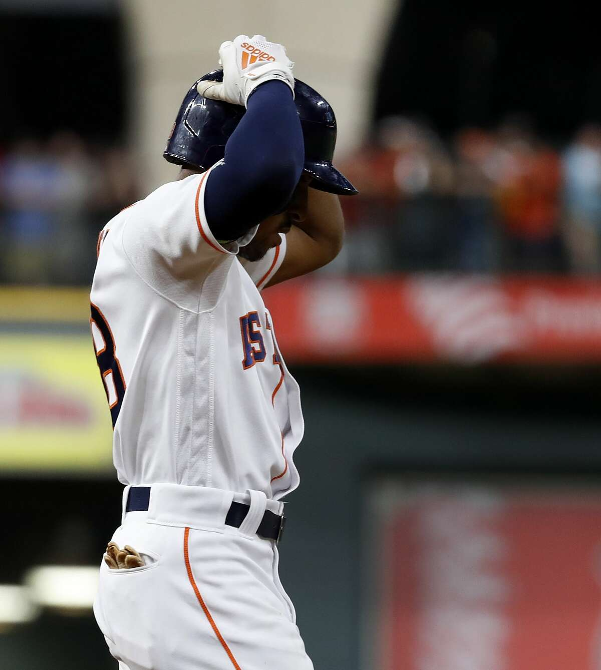 Houston Astros Tony Kemp (18) reacts after he lined into a double play during the eighth inning of an MLB game at Minute Maid Park, Saturday, August 11, 2018, in Houston.