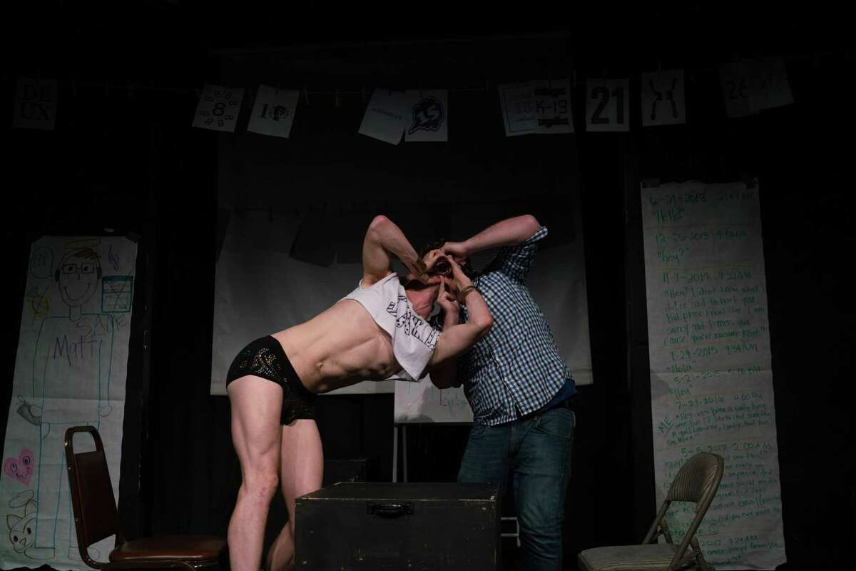 """Ryan Patrick Welsh (left) and Simon Pond in """"The Infinite Wrench."""""""