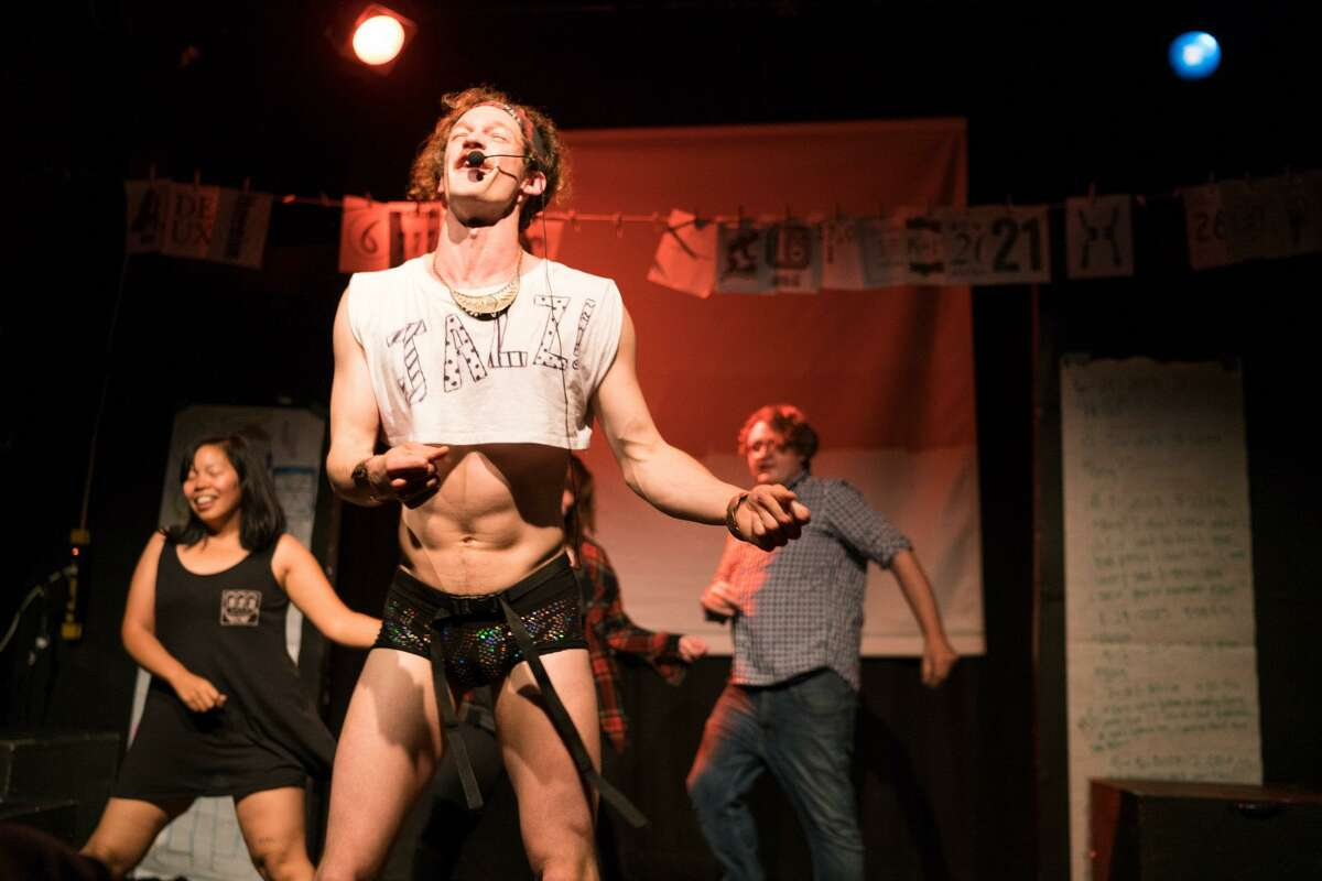 """Krys Seli (left), Ryan Patrick Welsh and Simon Pond in the San Francisco Neo-Futurists' """"The Infinite Wrench,"""" in which nudity is no longer permitted."""