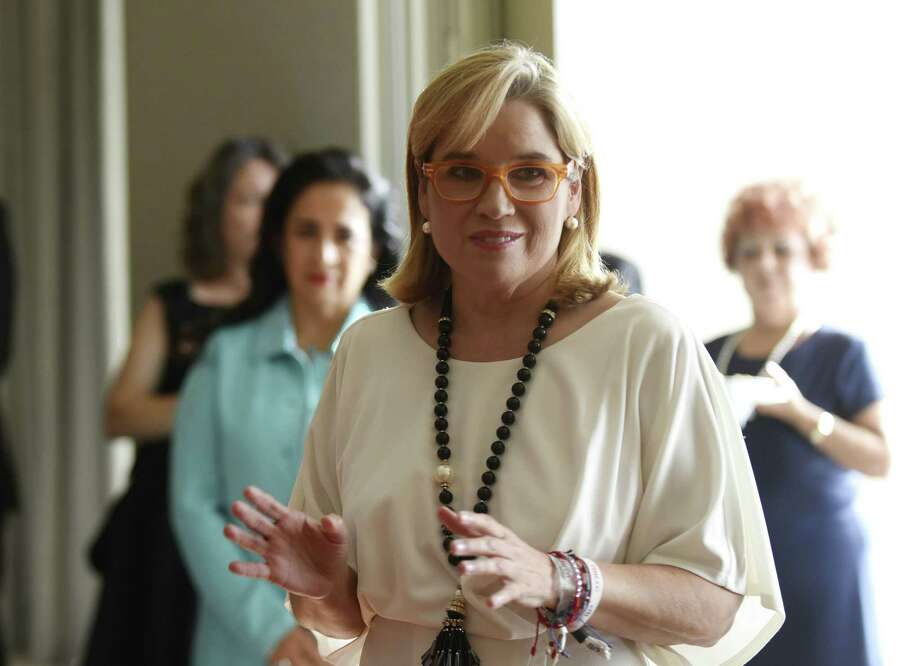 Carmen Yulin Cruz Soto, mayor of San Juan, Puerto Rico, speaks with guests at the San Antonio Association of Hispanic Journalists annual gala on Saturday, Aug. 11, 2018. Soto became internationally known for her criticism of President Trump after Hurricane Maria ravaged wide swaths of Puerto Rico, leaving many on the island without power for months on end. Photo: Billy Calzada, Staff / Staff Photographer / Billy Calzada