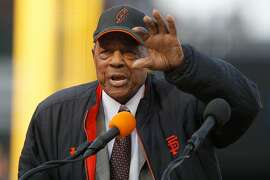 San Francisco Giants legend Willie Mays speaks about Barry Bonds during Bonds' uniform number retirement ceremony at AT&T Park on Saturday, Aug. 11, 2018, in San Francisco, Calif. The San Francisco Giants retired number 25 in honor of Bonds' historic career with the Giants from 1993-2007.