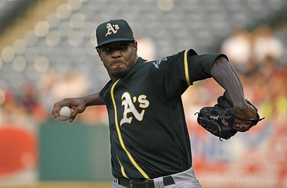 Oakland Athletics starting pitcher Edwin Jackson throws to the plate during the first inning of a baseball game against the Los Angeles Angels Saturday, Aug. 11, 2018, in Anaheim, Calif. (AP Photo/Mark J. Terrill) Photo: Mark J. Terrill / Associated Press