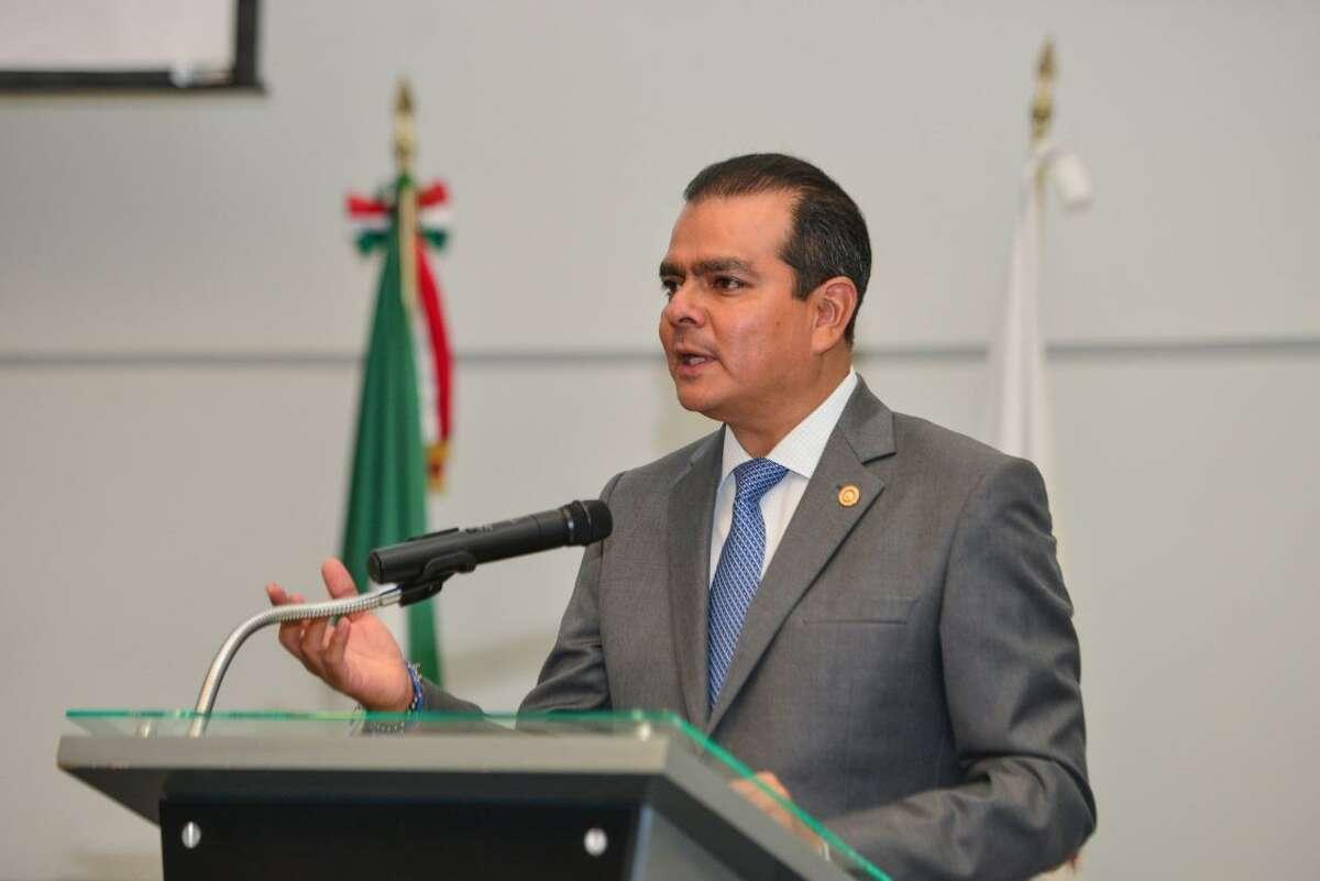 Nuevo Laredo Mayor Enrique Rivas Cuellar addresses a crowd in this file photo.