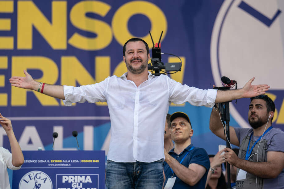 Matteo Salvini speaks during a rally in Pontida, Italy, on July 1, 2018. Photo: Bloomberg Photo By Federico Bernini. / © 2018 Bloomberg Finance LP