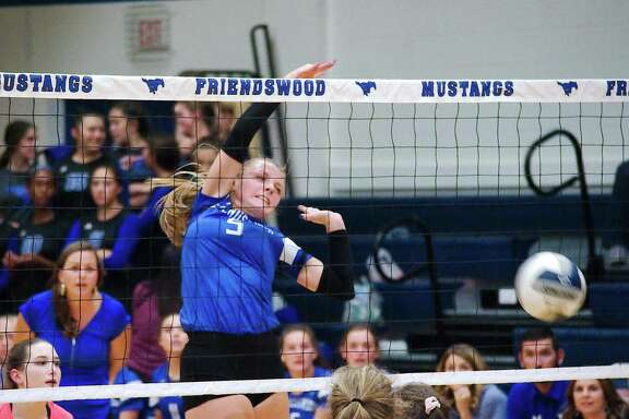 Friendswood's Ashlyn Svoboda (5) pounds a kill shot against Clear Lake in a non-district match last week.
