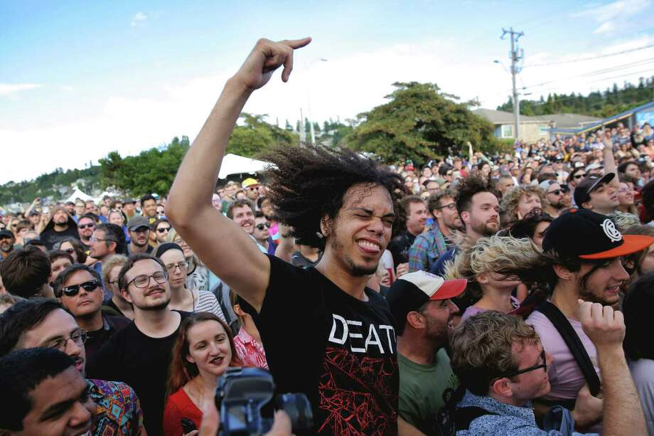 Fans dance during Clipping's set at Sup Pop Records' 30th anniversary party at Alki Beach, Saturday, Aug. 11, 2018. The free event included four stages with Sub Pop signed bands playing throughout the afternoon and evening. Photo: GENNA MARTIN, SEATTLEPI.COM / SEATTLEPI.COM
