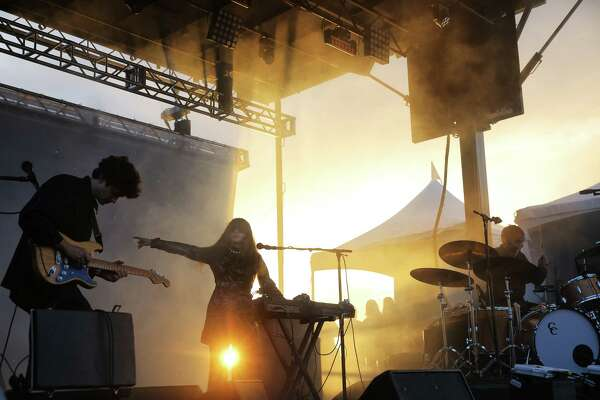 Beach House performs during Sup Pop Records' 30th anniversary party at Alki Beach, Saturday, Aug. 11, 2018. The free event included four stages with Sub Pop signed bands playing throughout the afternoon and evening.