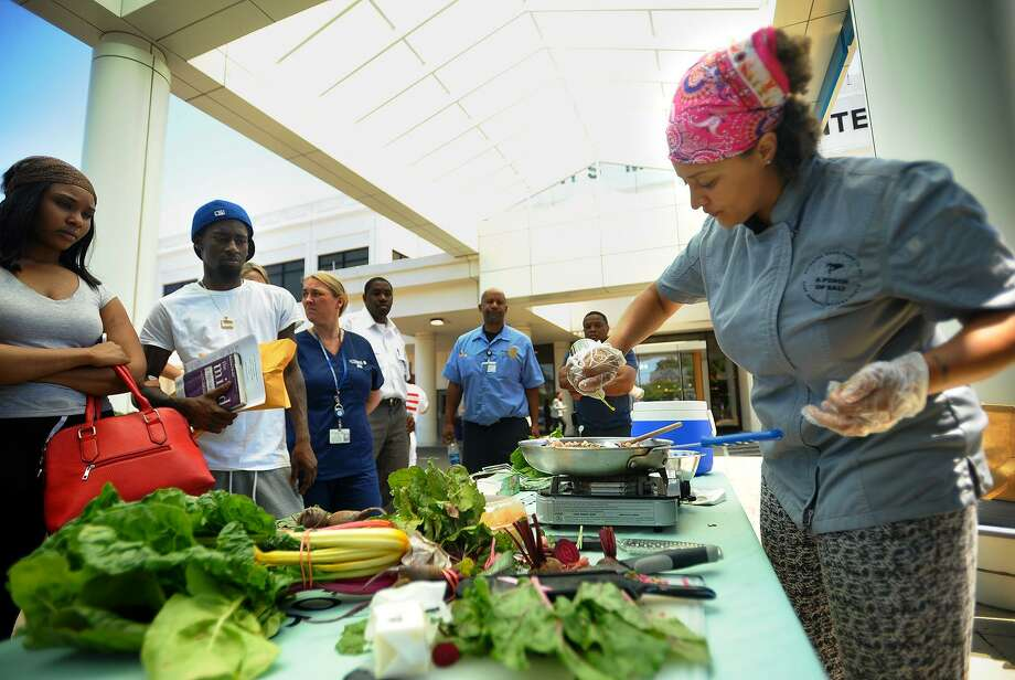 Chef Raquel Rivera-Pablo gives a cooking demonstration for a pasta salad with beets, swiss chard, and a brown butter sage sauce to kick-off the opening of the St. Vincent's Farmer's Market at St. Vincent's Medical Center in Bridgeport, Conn. on Tuesday, July 10, 2018. Rivera-Pablo will conduct another demo at the hospital on Tuesday, Aug. 14, 2018. Photo: Brian A. Pounds / Hearst Connecticut Media / Connecticut Post