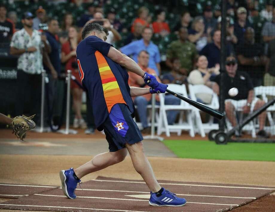 Former Houston Astros Luke Scott hits during the 2018 Legends Weekend Home Run Derby Sunday, Aug. 12, 2018, in Houston. Photo: Steve Gonzales, Houston Chronicle / © 2018 Houston Chronicle