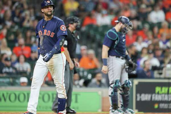 Houston Astros first baseman Yuli Gurriel (10) walks back to the dugout after striking out in the 10th inning during an MLB game at Minute Maid Park Sunday, Aug. 12, 2018, in Houston.