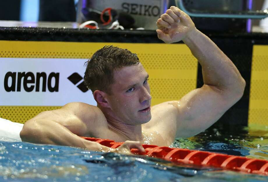 Former Cal swimmer Ryan Murphy reacts after winning the men's 200-meter backstroke final, his secon dgold medal of the Pan Pacific Championships in Tokyo. Photo: Koji Sasahara / Associated Press