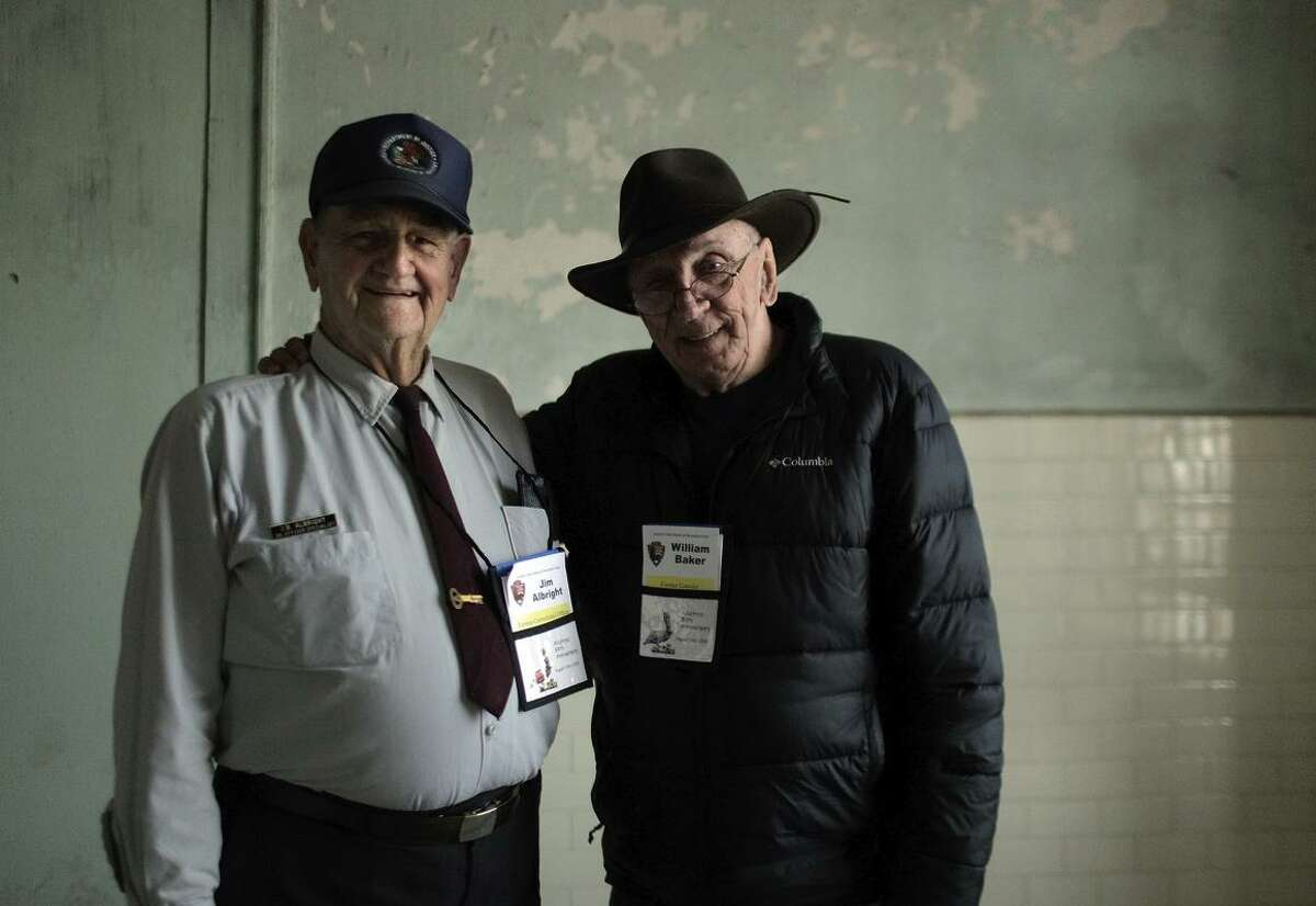 Baker (right) talks with former prison guard Jim Albright in a room in the former federal prison in San Francisco Bay during the reunion. The National Park Service said it will be the last get-together because the number of Alcatraz alumni has dwindled.