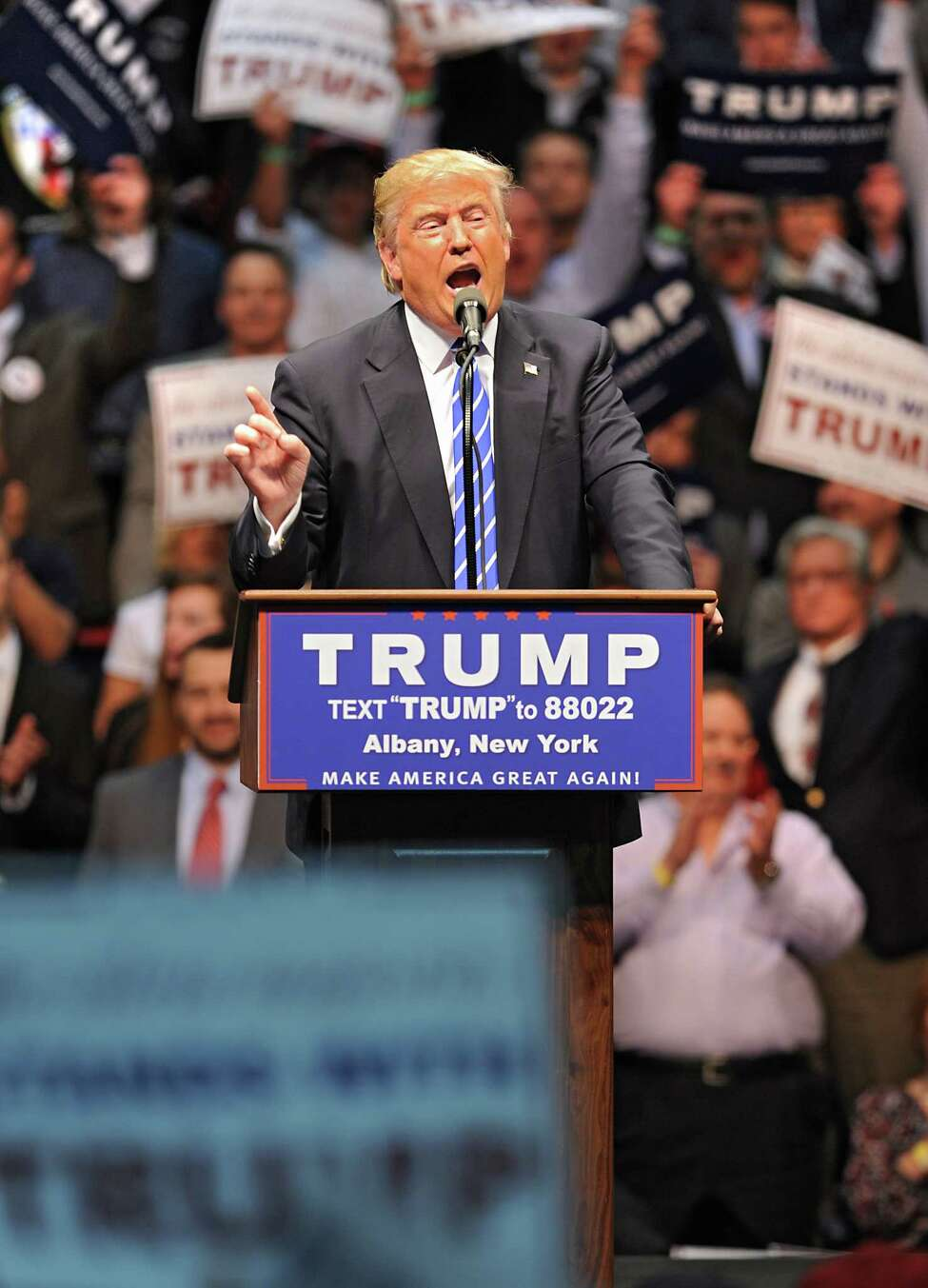 Republican presidential candidate Donald Trump addresses the crowd during a rally at the Times Union Center on Monday, April 11, 2016 in Albany, N.Y. (Lori Van Buren / Times Union)