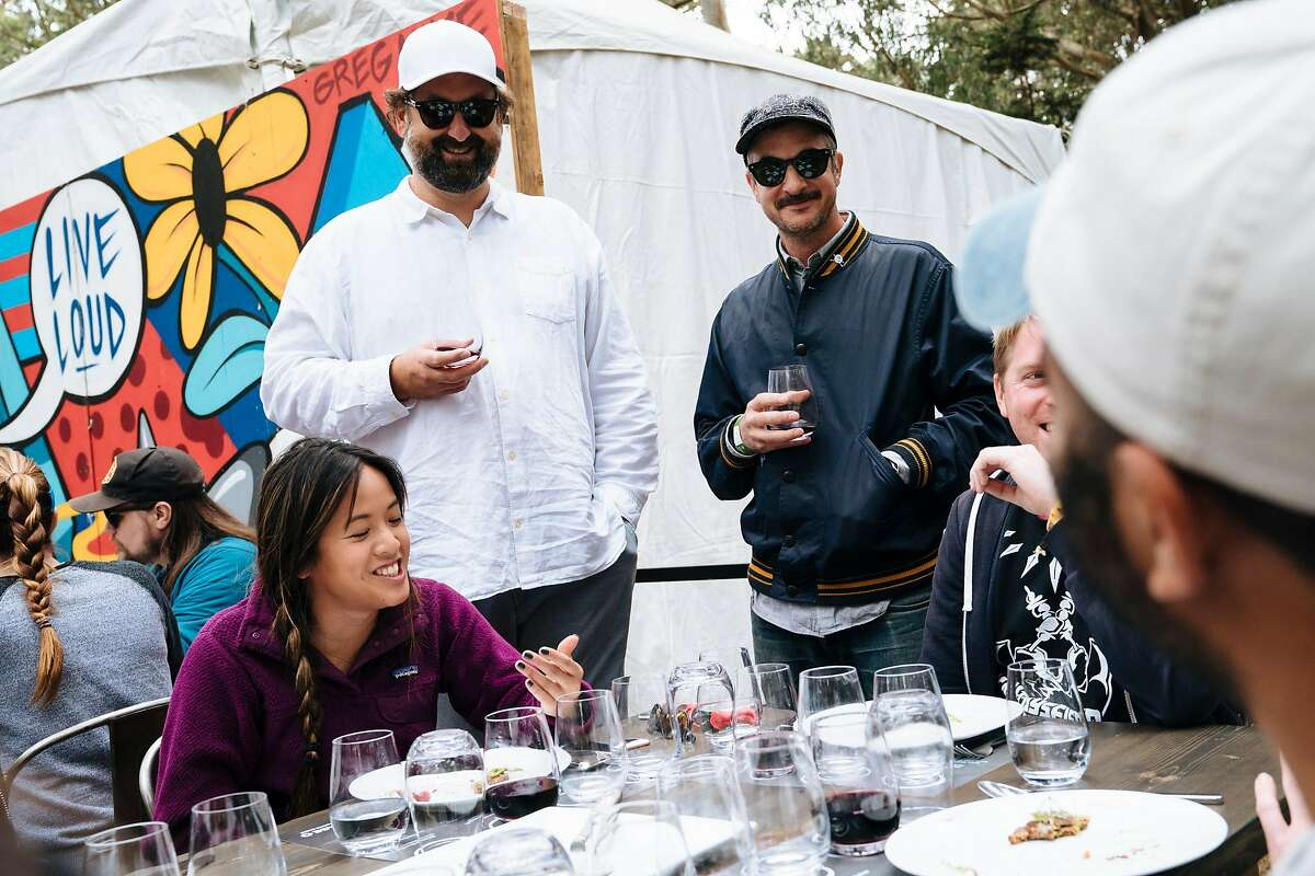 Actor, Eric Wareheim and winemaker, Joel Burt, talk through a wine and food pairing event with Chef Christa Chase at Tartine Manufactory at Outside Lands Music and Arts Festival at Golden Gate Park in San Francisco, Calif., on Sunday, Aug. 12, 2018. Both are the winemakers behind Las Jaras Wines.