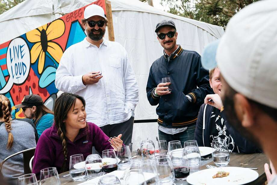Actor, Eric Wareheim and winemaker, Joel Burt, talk through a wine and food pairing event with Chef Christa Chase at Tartine Manufactory at Outside Lands Music and Arts Festival at Golden Gate Park in San Francisco, Calif., on Sunday, Aug. 12, 2018. Both are the winemakers behind Las Jaras Wines. Photo: Mason Trinca, Special To The Chronicle