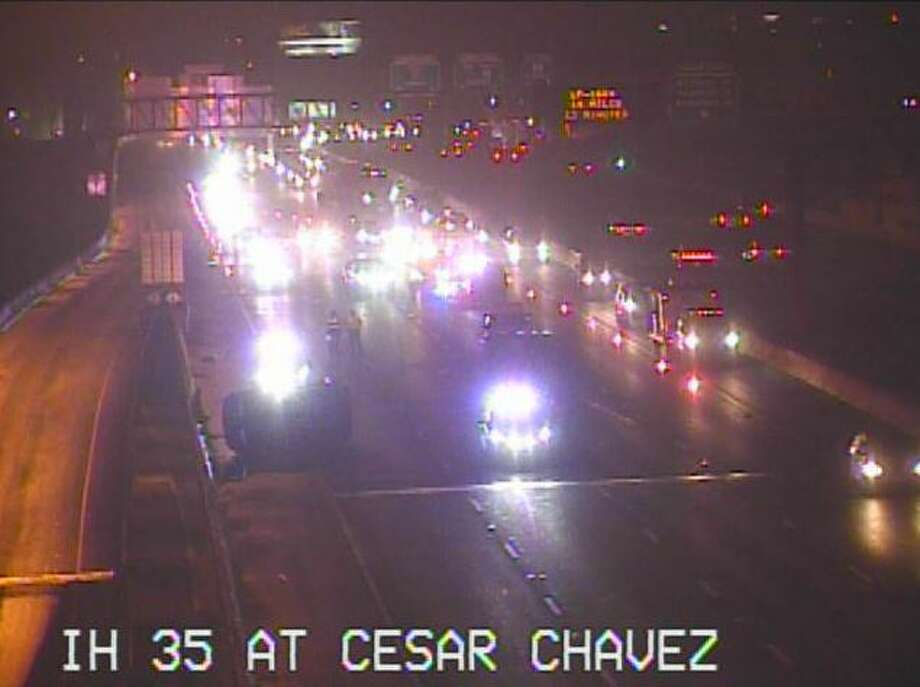 Paramedics and police responded to the crash just after 5:50 a.m. on I-35 at Cesar Chavez Boulevard. Photo: TxDOT