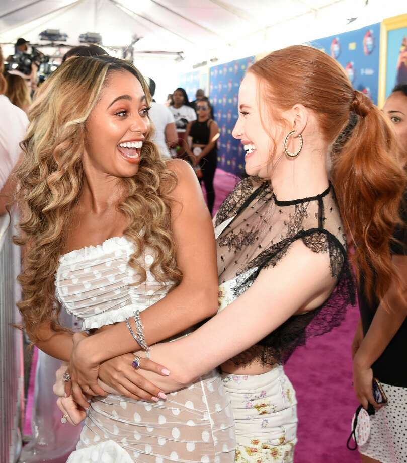 Vanessa Morgan and Madelaine Petsch attend FOX's Teen Choice Awards at The  Forum on Aug.