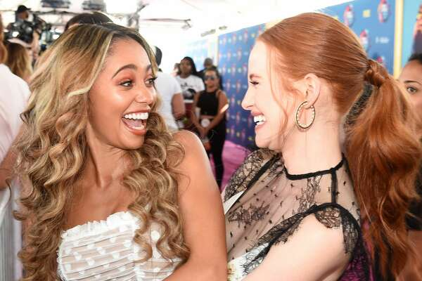 INGLEWOOD, CA - AUGUST 12: Vanessa Morgan and Madelaine Petsch attend FOX's Teen Choice Awards at The Forum on August 12, 2018 in Inglewood, California. (Photo by Kevin Mazur/Getty Images)