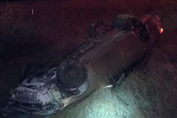 Agents rescued a family that became trapped in their vehicle following a rollover on Sunday.