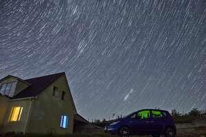 CRIMEA, RUSSIA - AUGUST 12, 2018: The 2018 Perseid meteor shower over the village of Klinovka, Simferopol District. Sergei Malgavko/TASS (Photo by Sergei Malgavko\TASS via Getty Images)