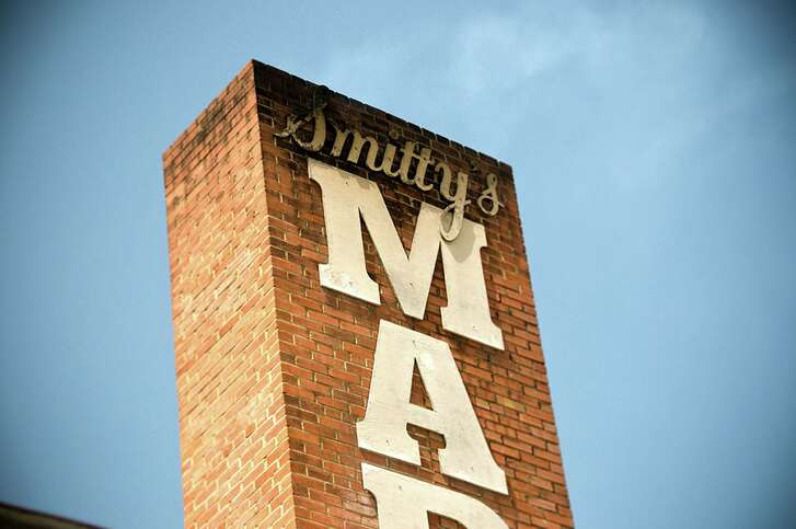 Soot stains mark the facade at Smitty's Market, famed barbecue joint, in Lockhart.