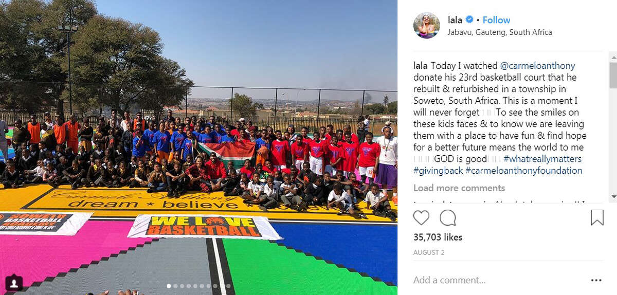 What took so long? Carmelo Anthony just got back from a trip to Africa where he was with his wife La La and his son. Anthony worked to put donate a basketball court in a township in Soweto, South Africa.
