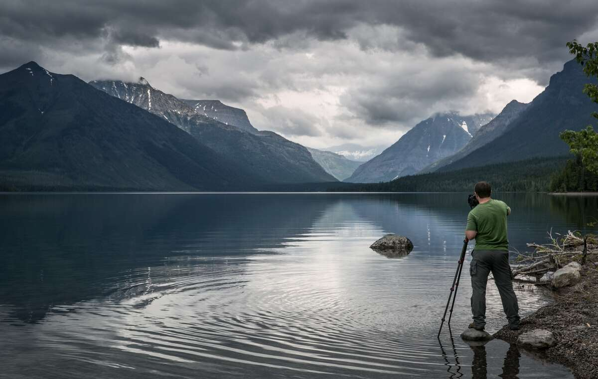 A view of Lake McDonald from the shore in Glacier National Park, Mont.