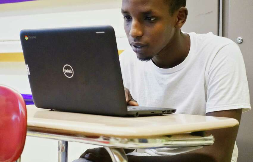 Student Ibrahim Ali works on an APEX online course at Hackett Middle School on Monday, Aug. 13, 2018, in Albany, N.Y. (Paul Buckowski/Times Union)