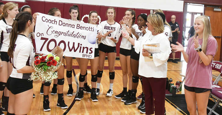 Cy-Fair volleyball celebrates coach Donna Benotti's 700th career win.