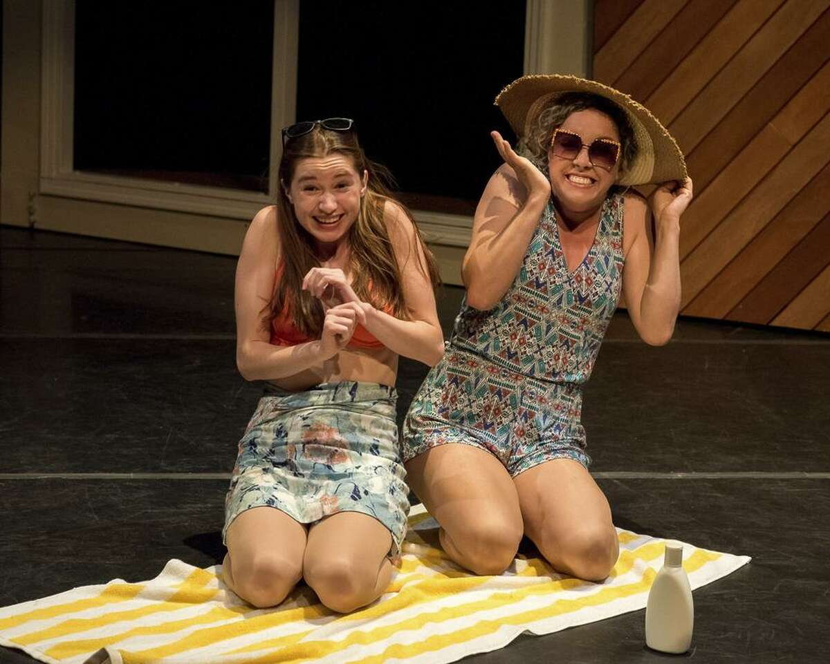 """Isabel Langen (left) and Molly Bensonperform in Word for Word's production of George Saunders' """"Victory Lap."""""""