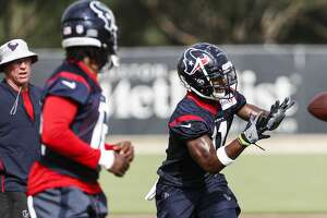 Houston Texans wide receiver Quan Bray (11) reaches out to make a catch during training camp at the Methodist Training Center on Monday, Aug. 13, 2018, in Houston.