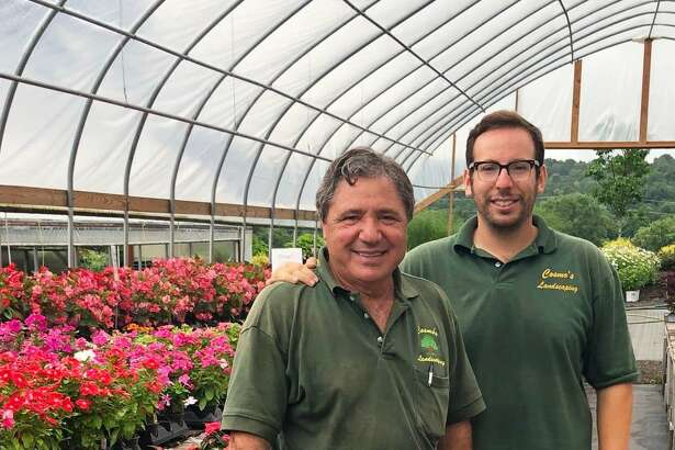 Cosmo's Landscaping & Nursery on Route 7 in New Milford is celebrating its 40th anniversary this year. Above is co-owner Cosimo Mazza, left, and yard manager Alex Chiera.