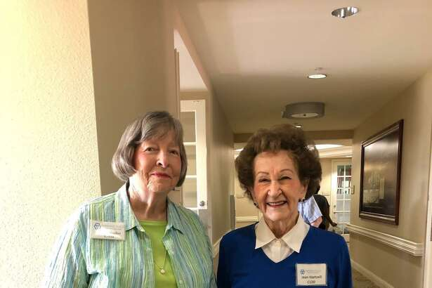 Donna Stadler, 88, and Jean Hartzell, 93, (left to right) met eight years ago at Parkway Place when Stadler moved to the Memorial-area senior living community. The ladies are now best friends and enjoy staying active together. They celebrated National Friendship Day on Sunday, Aug. 5, with a walk around their community.